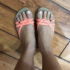 Volcom neon coral sandal Sz 8